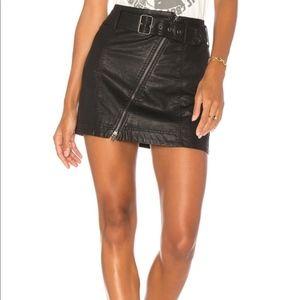 Free People Feelin Fresh Black Vegan Leather skirt